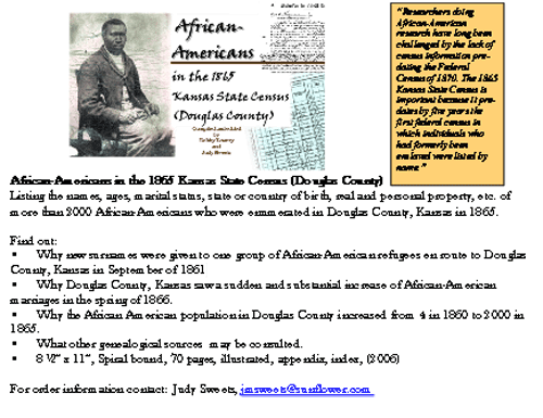 lawrence douglas county kansas african american oral history  african americans in the 1865 kansas state census douglas county